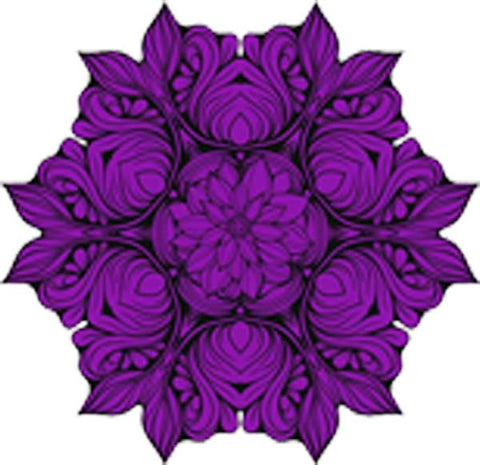 Black and White Vintage Lotus Rose Mandala Flower Bunch Icon - Purple Vinyl Decal Sticker