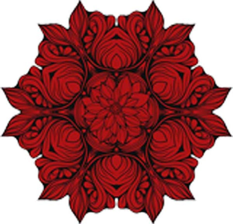 Black and White Vintage Lotus Rose Mandala Flower Bunch Icon - Red Vinyl Decal Sticker