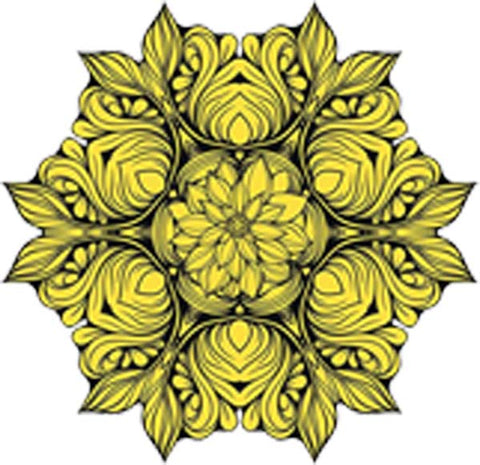 Black and White Vintage Lotus Rose Mandala Flower Bunch Icon - Yellow Vinyl Decal Sticker