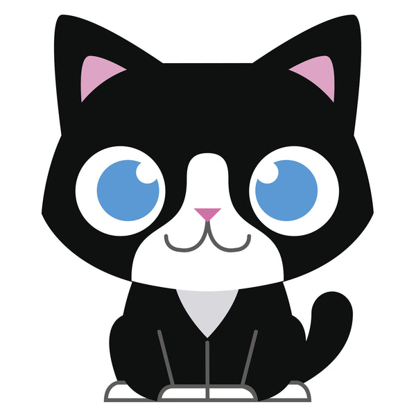 Blue Eye Black and White Baby Kitty Cat Vinyl Decal Sticker