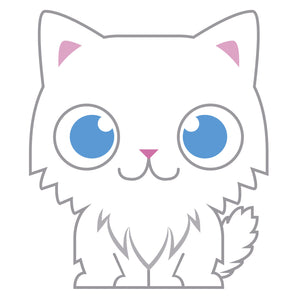 Blue Eye Fluffy White Baby Kitty Cat Vinyl Decal Sticker