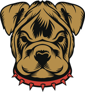 Brown and Black Bulldog Puppy with Red Collar Vinyl Decal Sticker