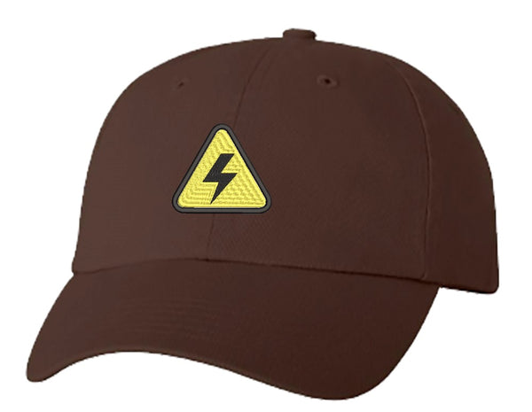 Unisex Adult Washed Dad Hat Simple Yellow Triangle Sign Symbol Icon - High Voltage Embroidery Sketch Design