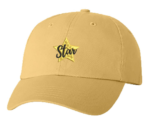 Unisex Adult Washed Dad Hat Pretty Golden Calligraphy Art Cartoon Logo Icon - Star Embroidery Sketch Design