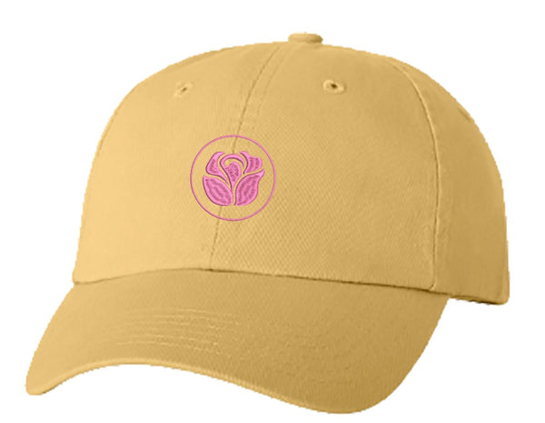 Unisex Adult Washed Dad Hat Pink Breast Cancer Awareness Logo Symbol Icon - Rose Embroidery Sketch Design
