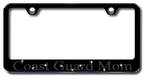 License Plate Frame with Swarovski Crystal Bling Bling Ice Coast Guard Mom Aluminum