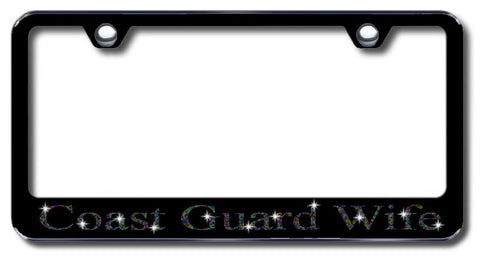 License Plate Frame with Swarovski Crystal Bling Bling Ice Coast Guard Wife Aluminum