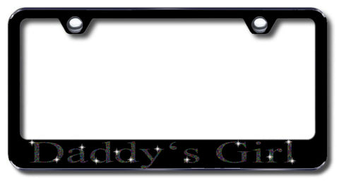 License Plate Frame with Swarovski Crystal Bling Bling Ice Daddy's Girl Aluminum