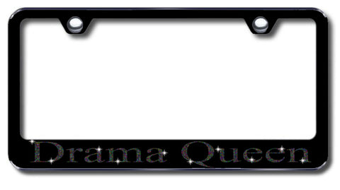 License Plate Frame with Swarovski Crystal Bling Bling Ice Drama Queen Aluminum