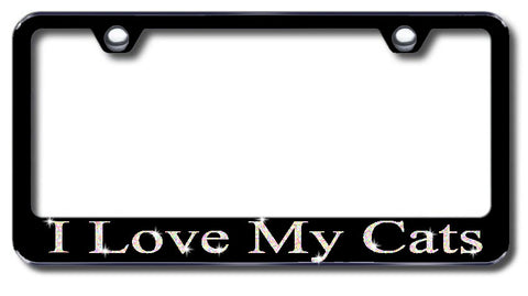 License Plate Frame with Swarovski Crystal Bling Bling Ice I Love My Cats Aluminum