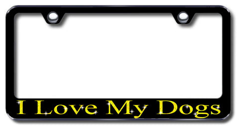 License Plate Frame with Swarovski Crystal Bling Bling Ice I Love My Dogs Aluminum