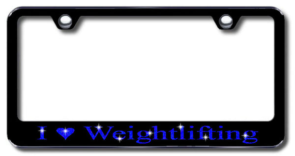 License Plate Frame with Swarovski Crystal Bling Bling I Love Weightlifting Aluminum