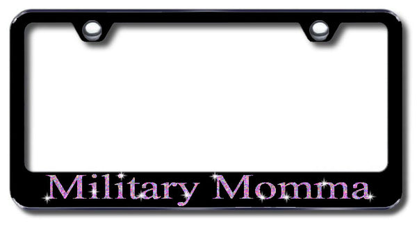 License Plate Frame with Swarovski Crystal Bling Bling Military Momma Aluminum