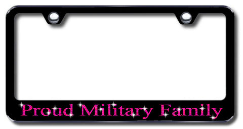 License Plate Frame with Swarovski Crystal Bling Bling Proud Military Family Aluminum