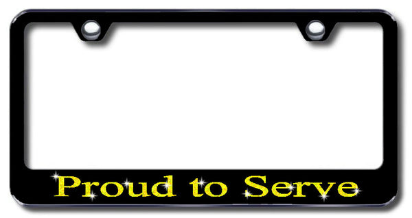 License Plate Frame with Swarovski Crystal Bling Bling Proud To Serve Aluminum