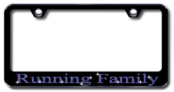License Plate Frame with Swarovski Crystal Bling Bling Running Family Aluminum
