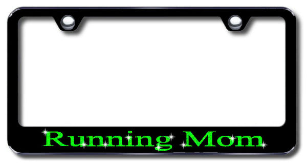 License Plate Frame with Swarovski Crystal Bling Bling Running Mom Aluminum