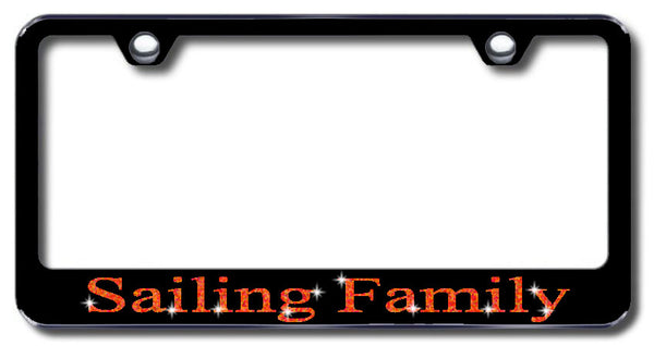 License Plate Frame with Swarovski Crystal Bling Bling Sailing Family Aluminum