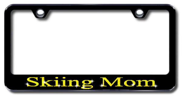 License Plate Frame with Swarovski Crystal Bling Bling Skiing Mom Aluminum