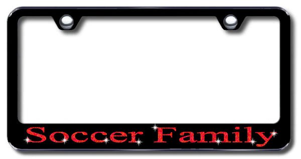 License Plate Frame with Swarovski Crystal Bling Bling Soccer Family Aluminum