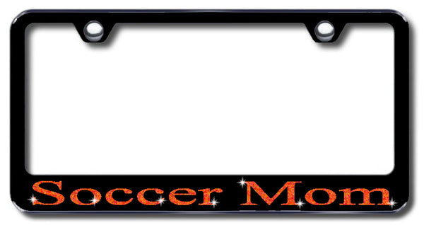 License Plate Frame with Swarovski Crystal Bling Bling Soccer Mom Aluminum