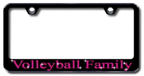 License Plate Frame with Swarovski Crystal Bling Bling Volleyball Family Aluminum