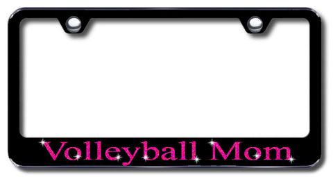 License Plate Frame with Swarovski Crystal Bling Bling Volleyball Mom Aluminum