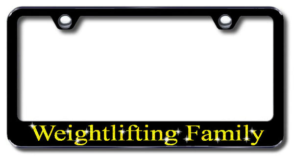 License Plate Frame with Swarovski Crystal Bling Bling Weightlifting Family Aluminum