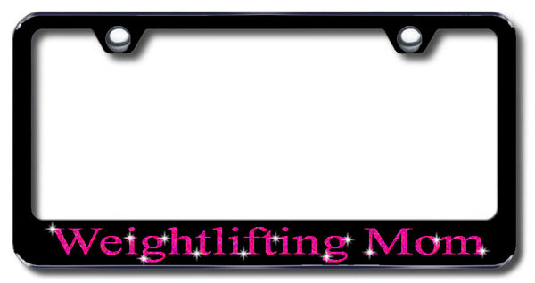 License Plate Frame with Swarovski Crystal Bling Bling Weightlifting Mom Aluminum