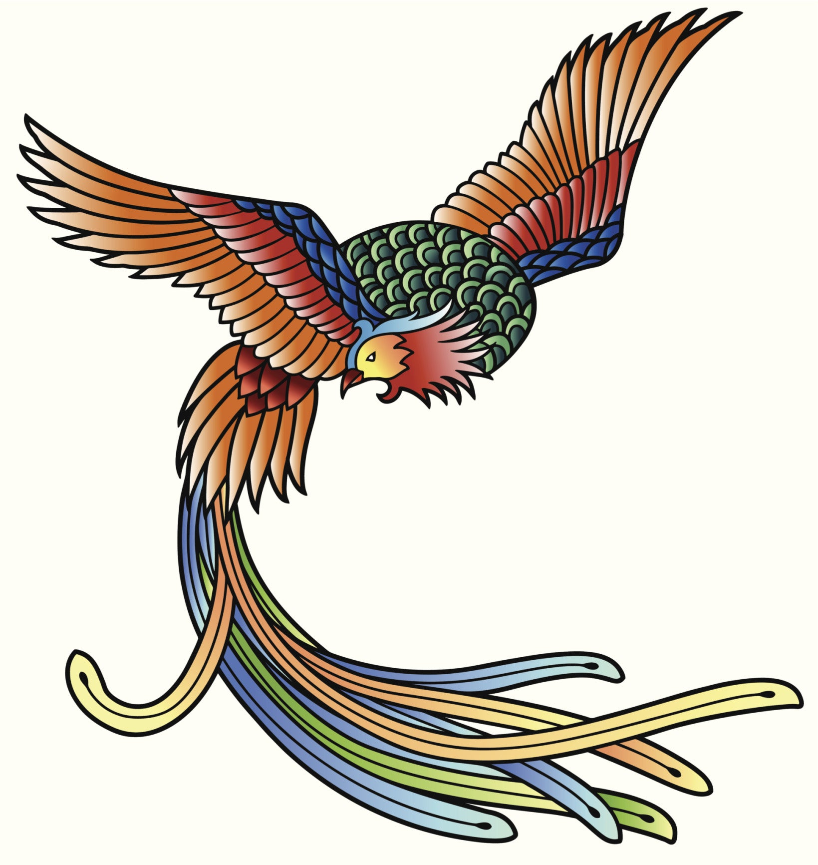 COLORFUL ORIENTAL PHOENIX GREEN BLUE ORANGE YELLOW RED WHITE Vinyl Sticker