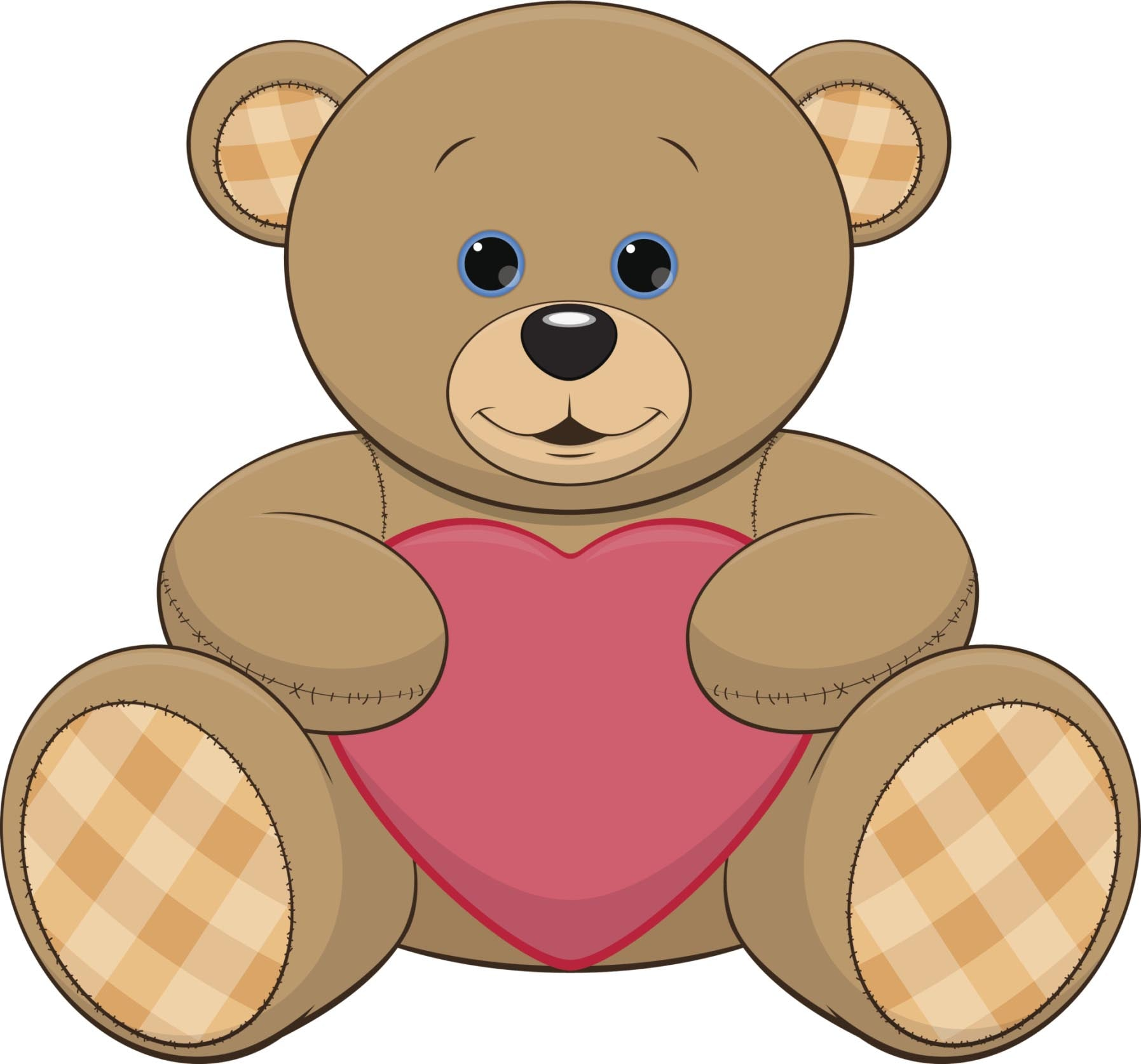 CUDDLY TEDDY BEAR WITH HEART BROWN PINK RED BLUE BLACK WHITE Vinyl Decal Sticker