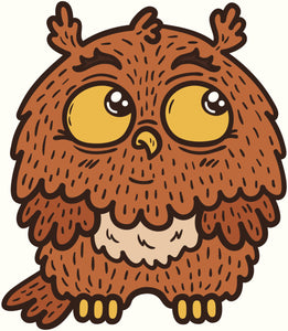 CUTE BABY CARTOON OWL LIGHT DARK BROWN YELLOW CREAM WHITE Vinyl Decal Sticker