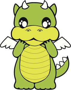 CUTE CARTOON DRAGON WITH WINGS AND HORNS LIGHT GREEN BLACK WHITE Vinyl Decal Sticker