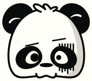 CUTE CARTOON PANDA HEAD ICON 15 BLACK WHITE Vinyl Decal Sticker