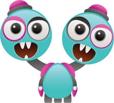 CUTE MONSTER TWO HEADS BLUE TURQUOISE PINK BLACK WHITE Vinyl Decal Sticker