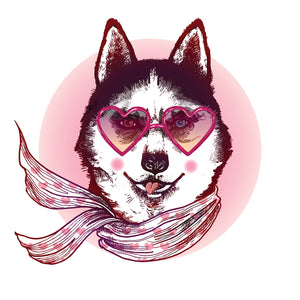 Classy Husky Dog with Heart Glasses and Scarf Vinyl Decal Sticker