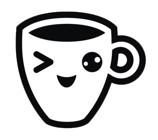 Coffee House Utensil Dining Ware Emoji - Winking Coffee Cup Vinyl Decal Sticker