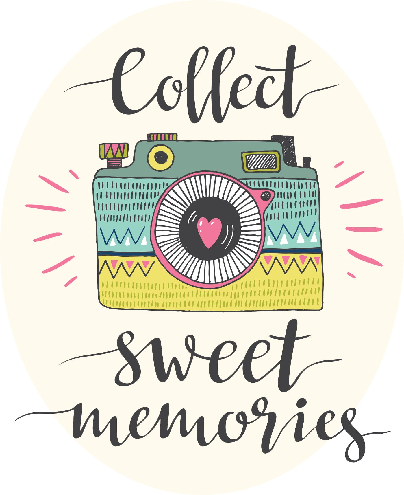 Collect Sweet Memories Camera Calligraphy Art Icon Vinyl Sticker