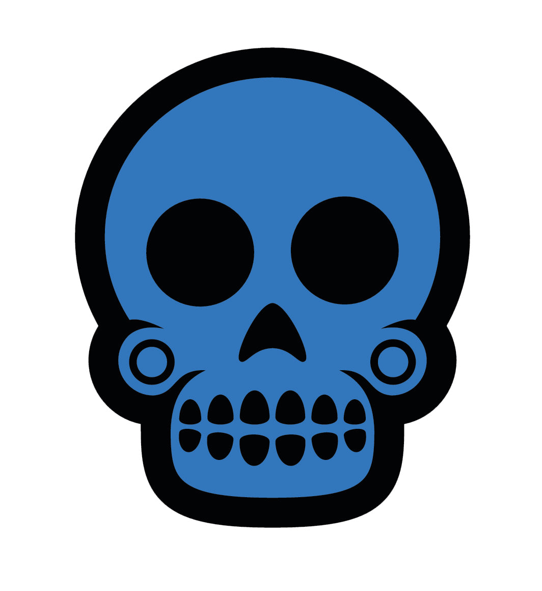 Colorful Dia de los Muertos Sugar Skull - Dark Blue Vinyl Sticker