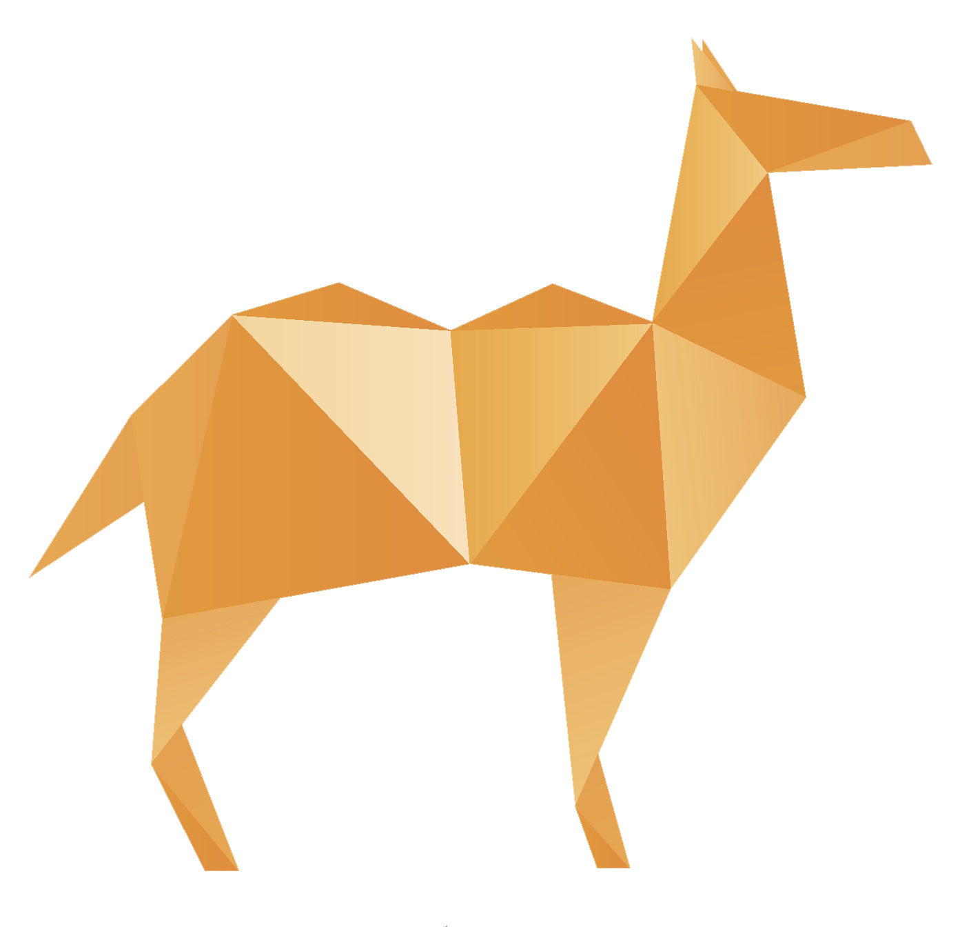 Colorful Geometric Origami Animal - Camel (4) Vinyl Sticker