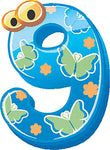 Colorful Kindergarten Nursery Numbers Cartoon Icon #9 Vinyl Sticker