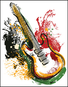 Colorful Paint Splash Guitar Icon Border Around Image As Shown Vinyl Sticker