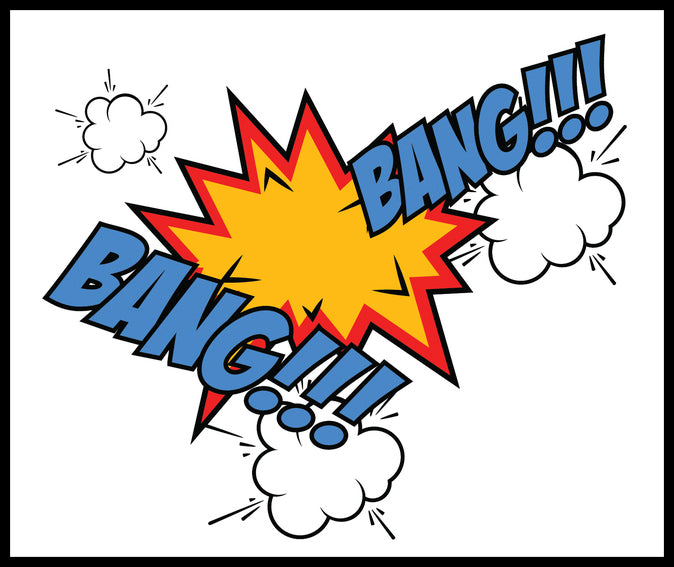 Comic Book Sound Effect Icon - BANG BANG Border Around Image As Shown Vinyl Sticker