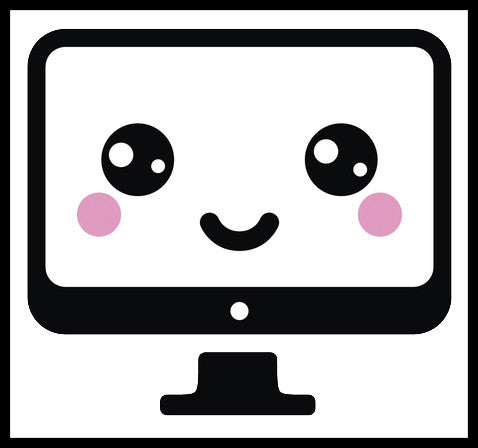 Computer Monitor Screen Virtual Electronic Emoji - Smiley Vinyl Decal Sticker
