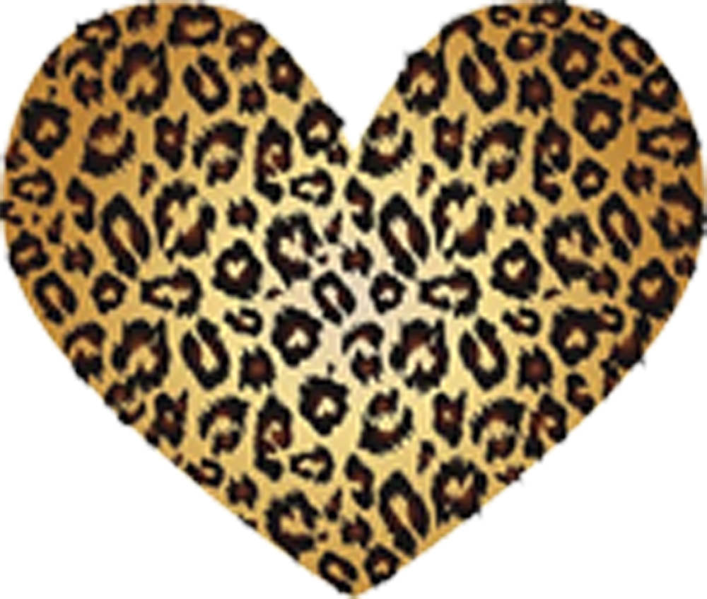 Cool Simple Animal Print Heart Art Icon - Cheetah Gold Vinyl Decal Sticker