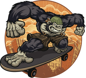 Cool Angry Gold Piercings Gorilla on Skateboard  Cartoon Icon Vinyl Sticker