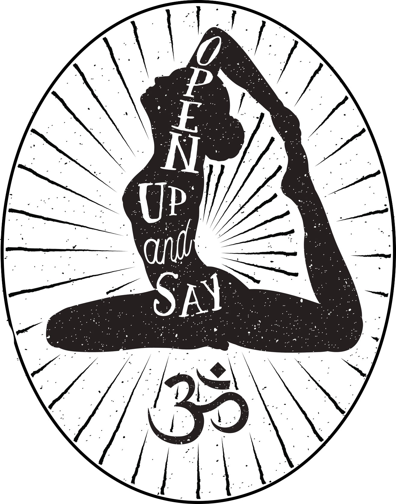 Cool Black and White Zen Yogi Yoga - Open Up and Say Ohm Border Around Image As Shown Vinyl Sticker