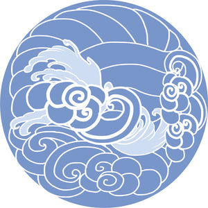 Cool Blue Tone Japanese Ocean Sea Wave Art Cartoon Icon #4 Vinyl Sticker
