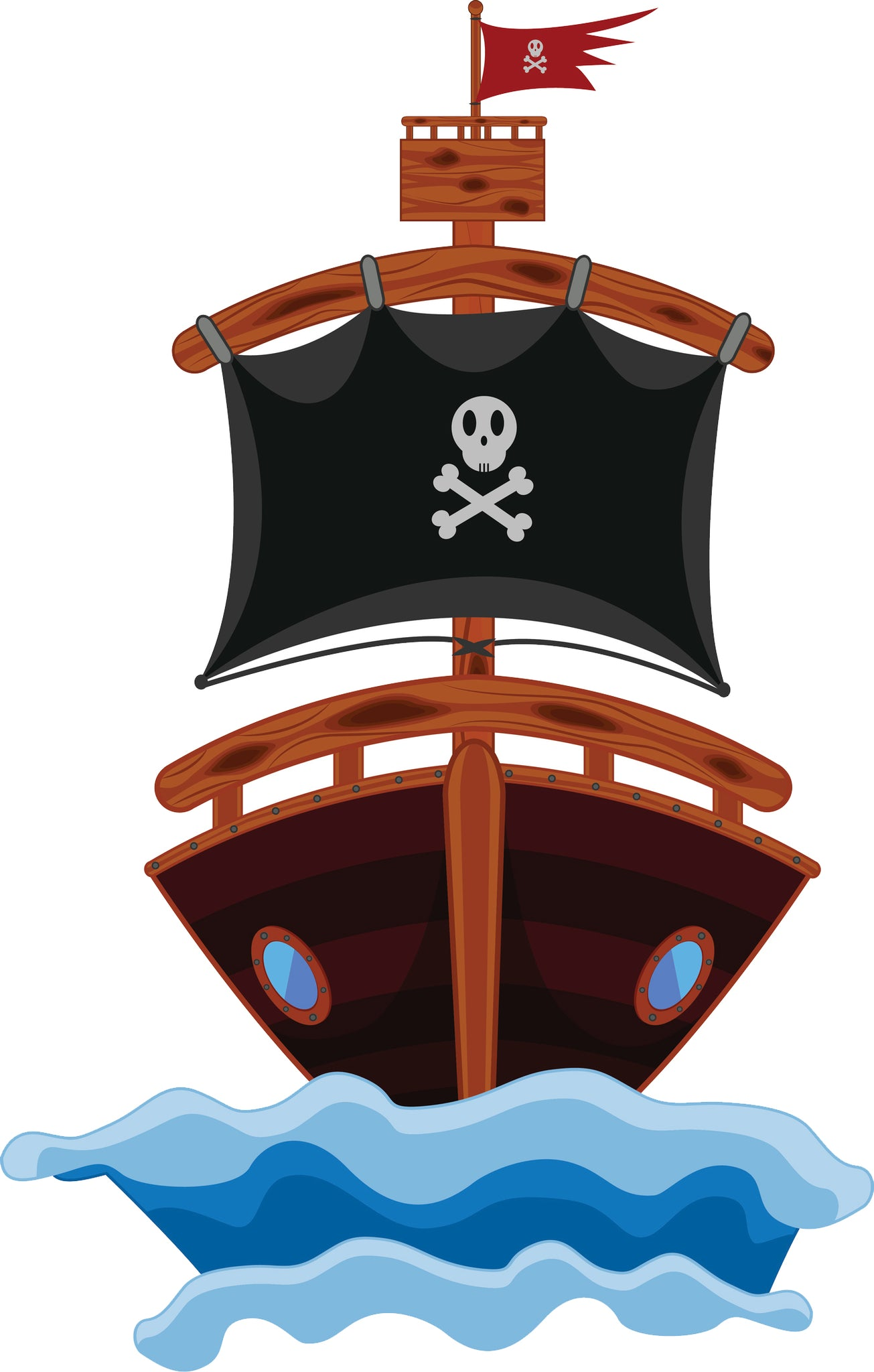Cool Childhood Kids Pirate Ship Cartoon Vinyl Sticker