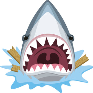 Cool Cute Angry Agressive Shark Cartoon Emoji Vinyl Sticker